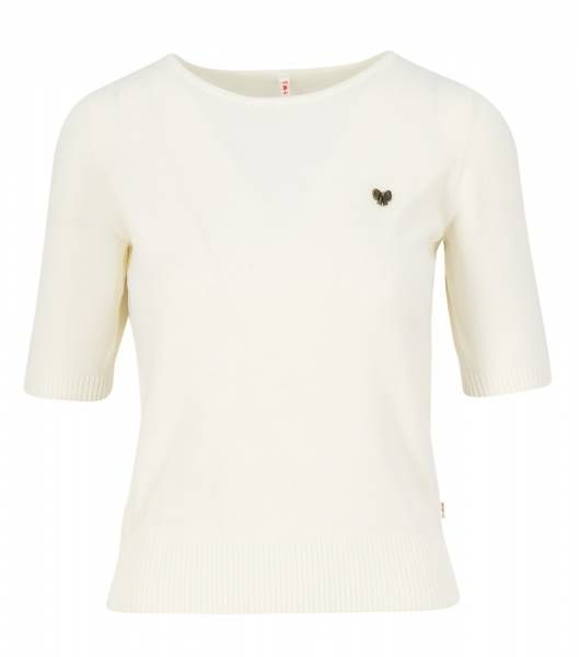 Blutsgeschwister Logo Pully Roundneck 1/2 Arm Damen Kurzarmpullover pearly white