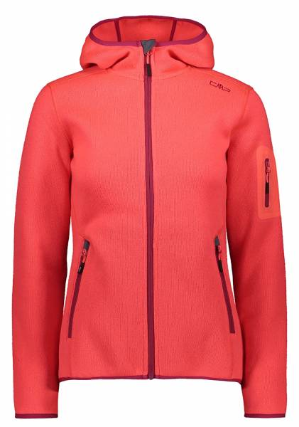 CMP Knitted Melange Hoody Jacket Damen Fleecejacke red fluo-magenta (3H19826)
