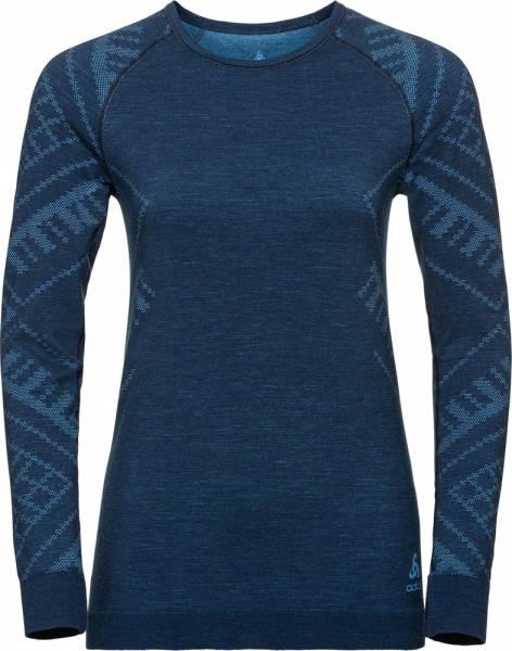 Odlo Suw Top Crew neck l/s Natural + Kinship Warm Women blue wing teal melange