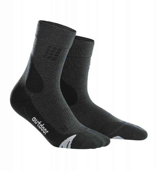 CEP Hiking Merino Mid-Cut Socks Herren Wandersocken grey/black