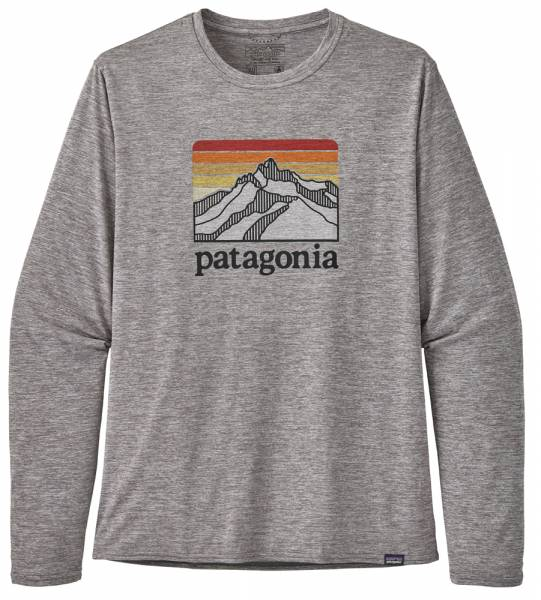Patagonia Long-Sleeved Capilene Cool Daily Graphic Shirt Men line logo ridge: feather grey