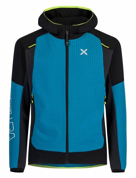 Montura Wind Revolution Hoody Jacket Herren Softshelljacke blu ottanio/giallo fluo