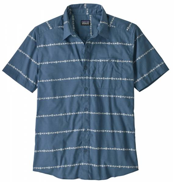 Patagonia Go To Shirt Men hemp stripe: pigeon blue