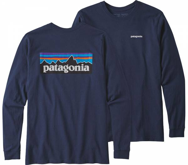 Patagonia Long-Sleeved P-6 Logo Responsibili-Tee® T-Shirt navy