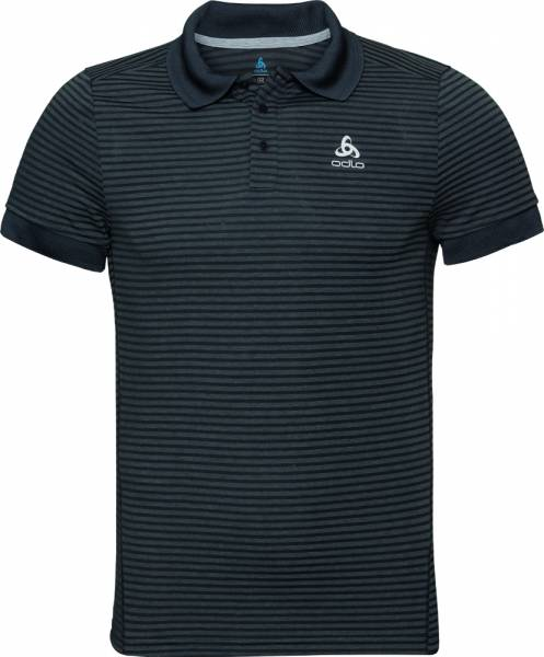 Odlo Nikko Dry s/s Men Poloshirt black - odlo steel grey - stripes