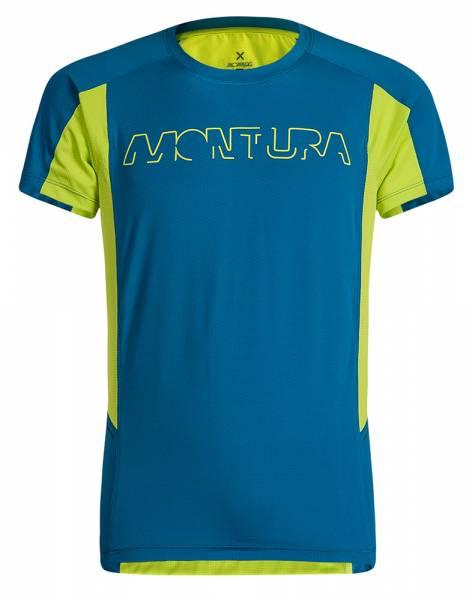 Montura Run Logo T-Shirt Herren Runningshirt blu ottanio/verde lime