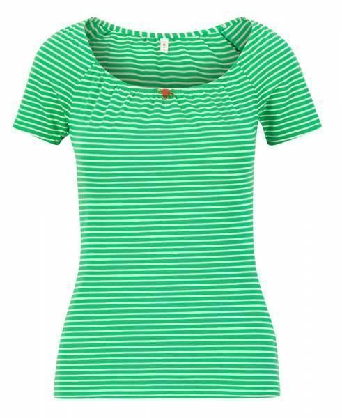 Blutsgeschwister Logo Stripe Heart T-Shirt Damen green tiny stripe