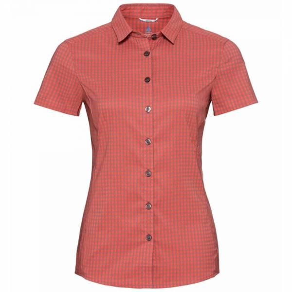 Odlo Kumano Check Blouse S/S Women Hemd hot coral