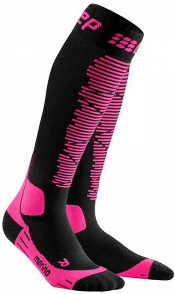 CEP Ski Merino Compression Socks Damen Skisocken black/pink