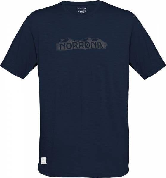 Norrona svalbard wool T-Shirt Men indigo night/elmwood
