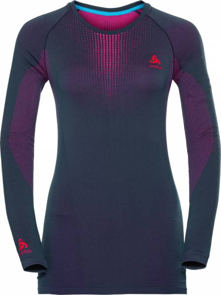 Odlo Suw Top Crew neck l/s Performance warm Women odyssey gray- diva pink