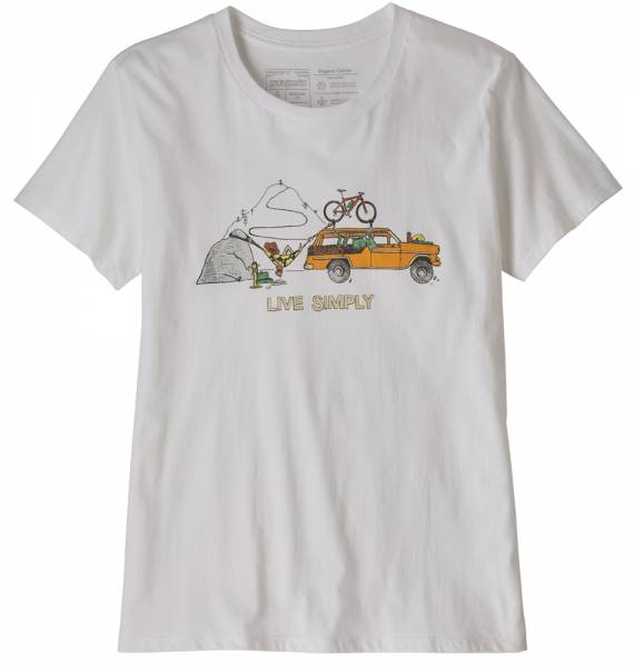 Patagonia Live Simply Lounger Organic Cotton Crew T-Shirt Women white w/bike