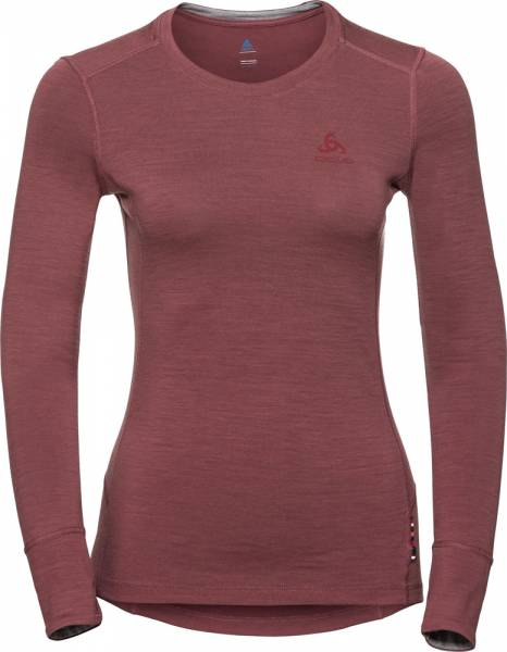 Odlo Suw Top Crew neck Longsleeve Natural 100% Merino warm Women roan rouge-grey melange