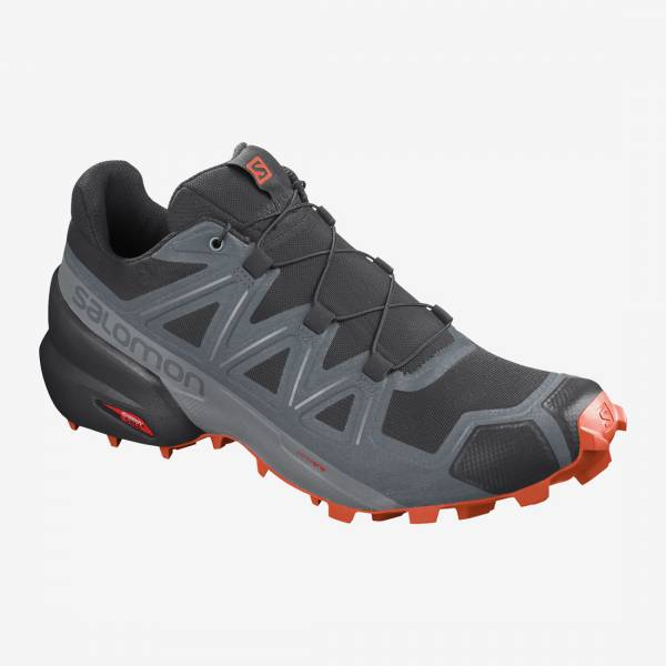 Salomon Speedcross 5 Herren Trailrunningschuh black/stormy weather/red orange
